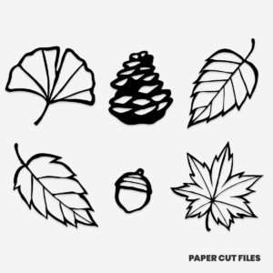 Fall season clipart - pine cone, acorn, leaves SVG PNG paper cutting templates