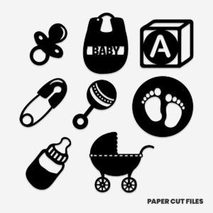 baby clipart - bottle, soother, bib SVG PNG paper cutting templates