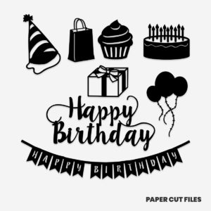 birthday clipart - balloon, gift, cake,cupcake, party hat SVG PNG paper cutting templates