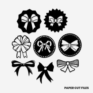 bow clipart - sash, ribbon, bow tie SVG PNG paper cutting templates