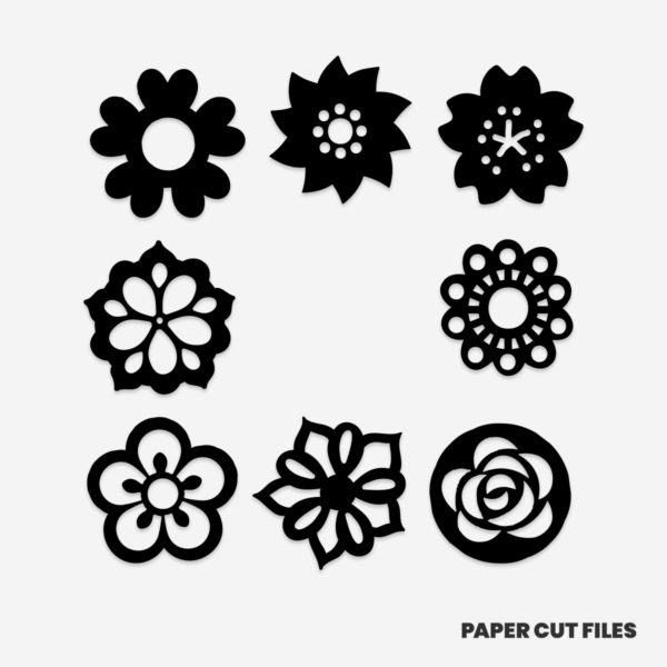 flower illustration clipart - SVG PNG paper cutting templates