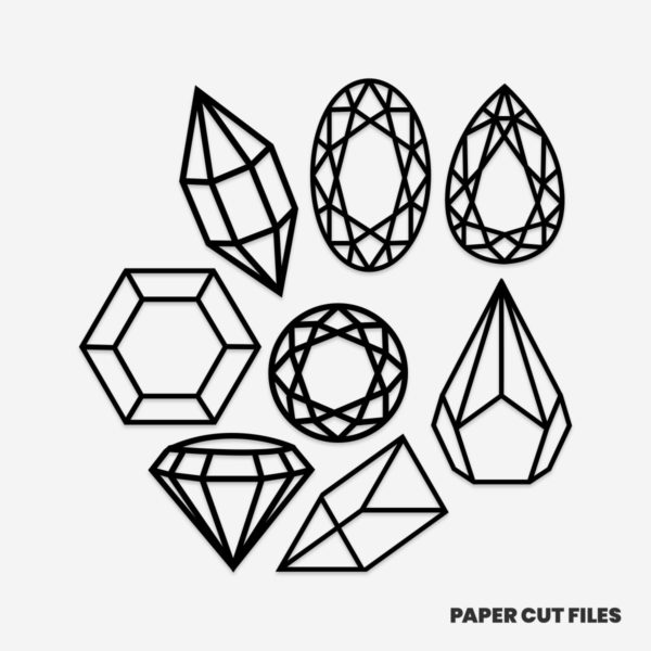 Gemstone clipart - SVG PNG paper cutting templates