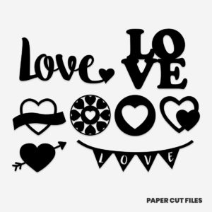 Love and heart clipart - SVG PNG paper cutting templates
