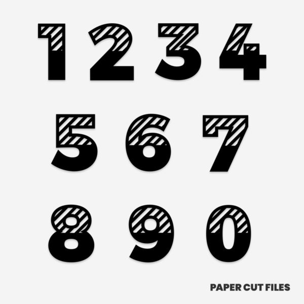 Striped numbers clipart - SVG PNG paper cutting templates