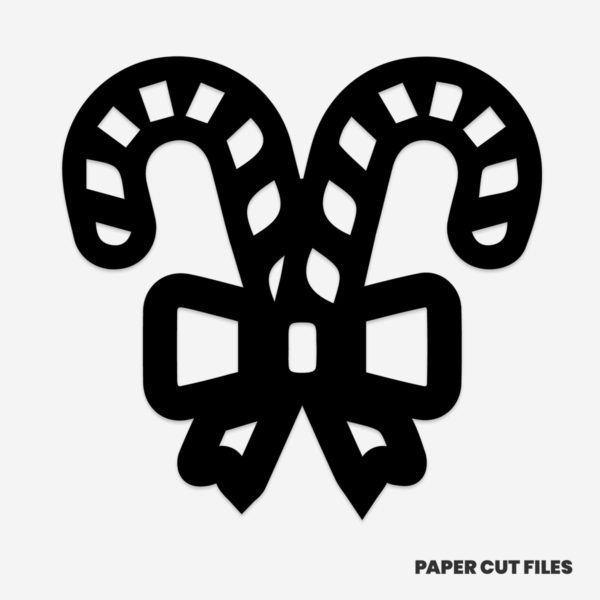 Candy cane bow clipart - SVG PNG paper cutting templates