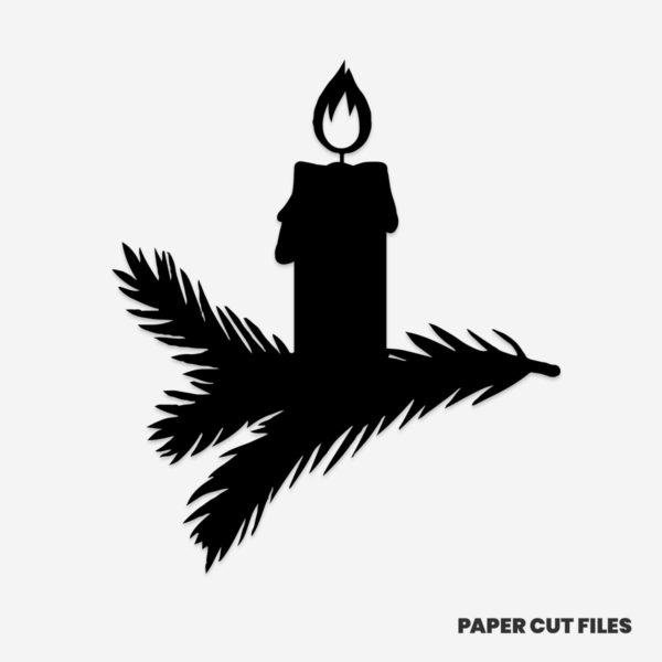 Christmas candle clipart - SVG PNG paper cutting templates