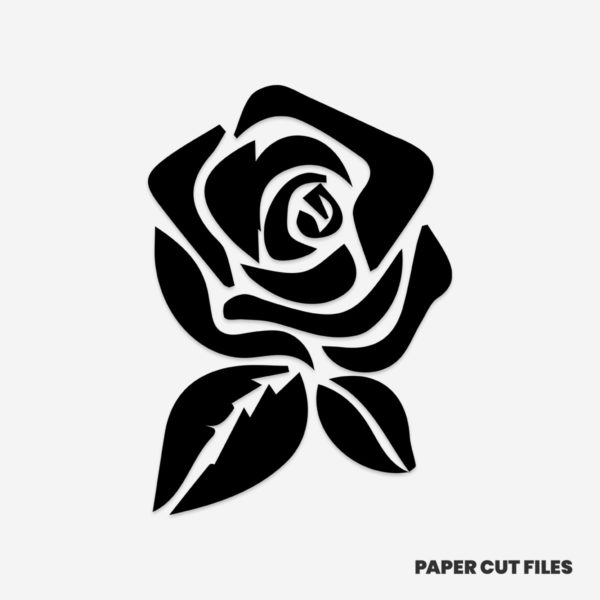 Rose clipart solid - SVG PNG paper cutting templates