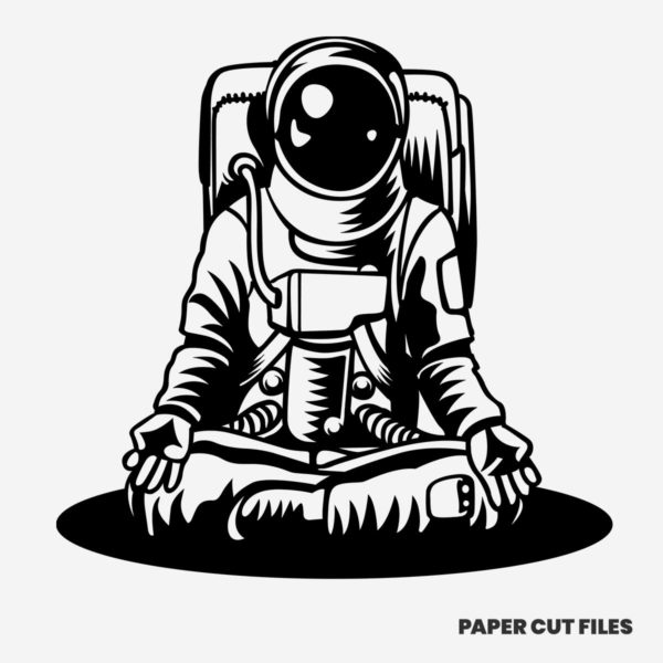 meditating astronaut clipart - SVG PNG paper cutting templates