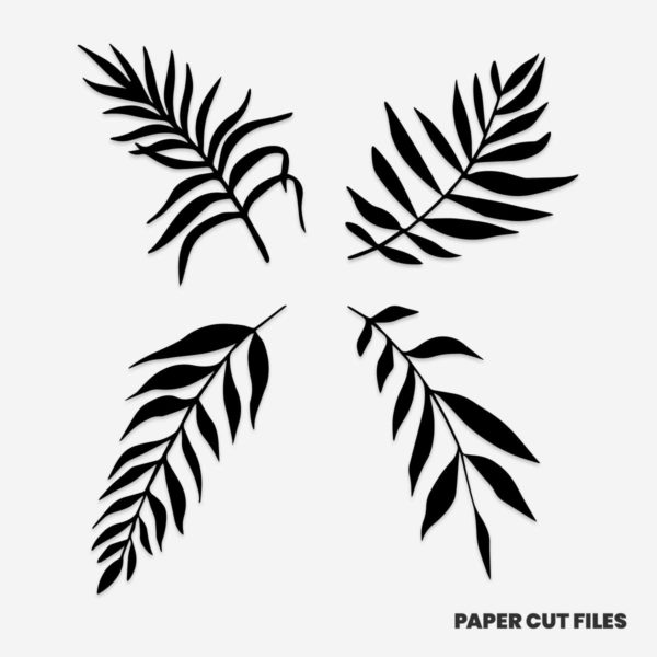 tropical fern clipart 1 of 2 - SVG PNG paper cutting templates