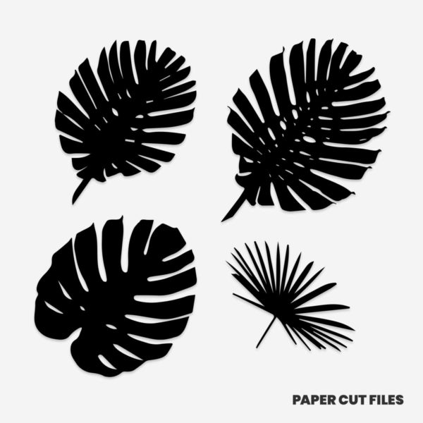 tropical leaves clipart 1 of 2 - SVG PNG paper cutting templates